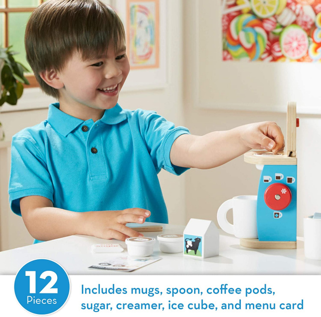 Melissa & Doug 11-Piece Brew and Serve Wooden Coffee Maker Set - Play Kitchen